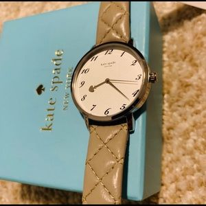 KATE SPADE Grey Leather Ladies Watch - Brand New